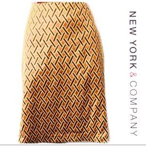 💚New York & Company Geometric Pencil Skirt Size 6